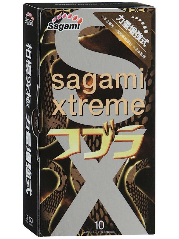 Латексные презервативы Sagami Xtreme Cobra - 10 шт. (Sagami, Япония)