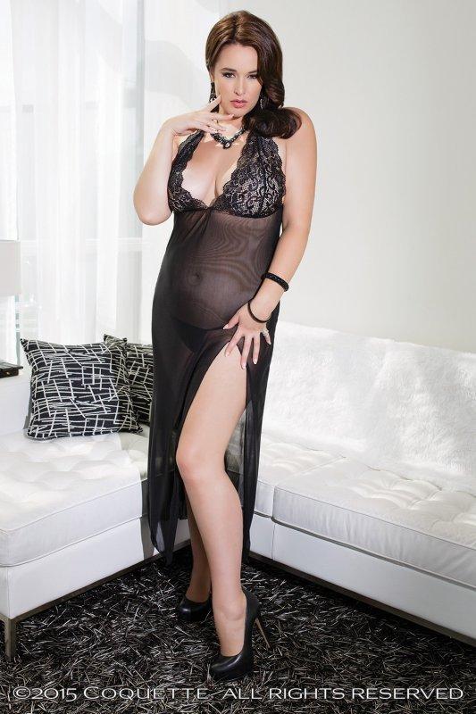 Длинное полупрозрачное платье с обнаженной спиной Coquette – Queen Size