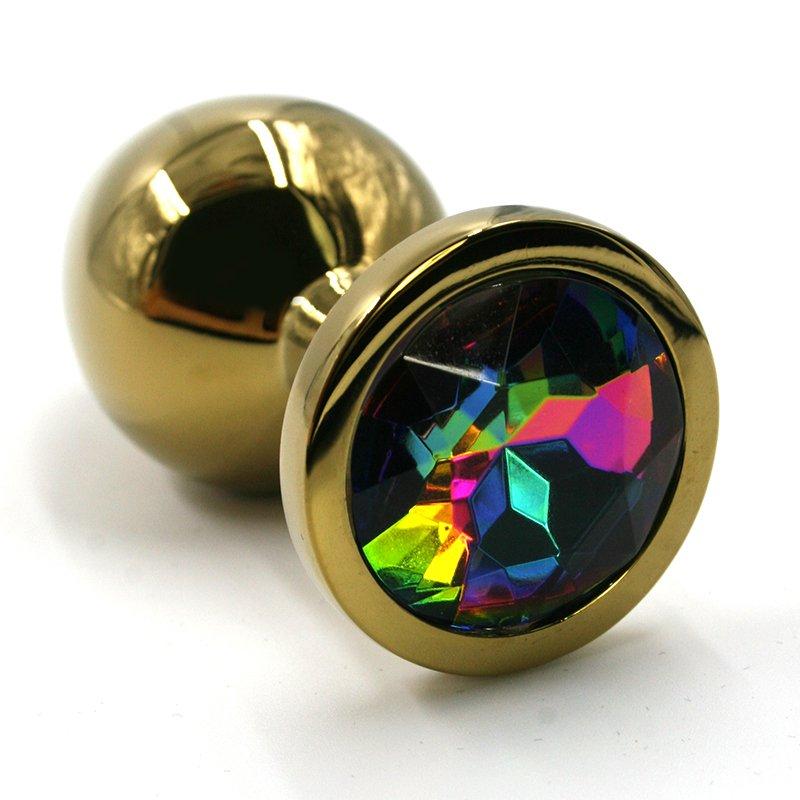 Маленькая алюминиевая анальная пробка Kanikule Small с кристаллом – золотистый с разноцветным