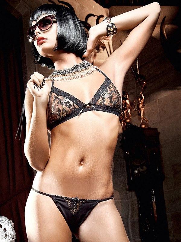 Кружевной комплект бикини Deeper In Hell – золотисто-черный