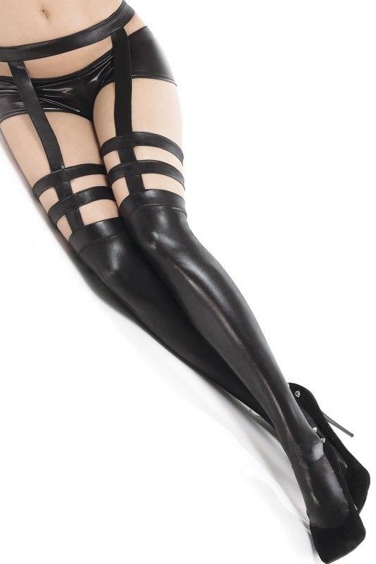 Дерзкие чулки с поясом и подвязками под кожу Coquette – черный