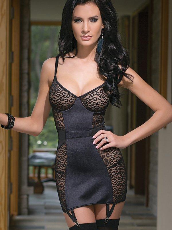 Коротенькое платье Coquette со вставками под леопарда  S