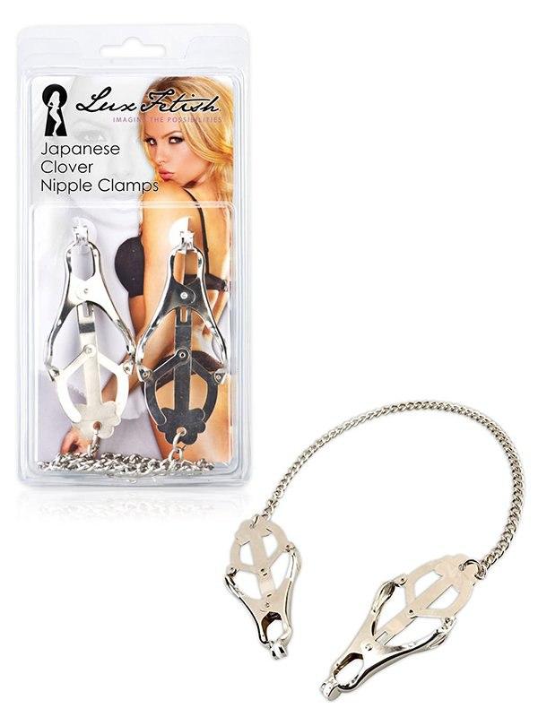 Металлические зажимы на соски с декором Japanese Clover Nipple Clamps – серебристый