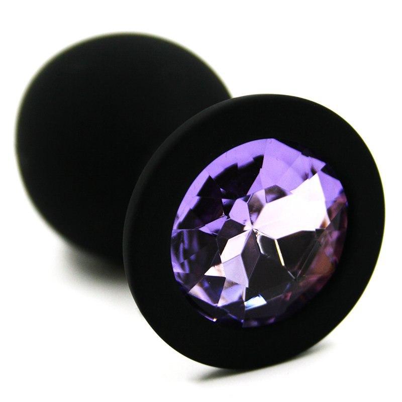 Средняя силиконовая анальная пробка Kanikule Medium с кристаллом – черный с фиолетовым