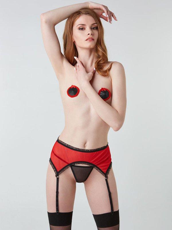 Дерзкий пояс для чулок с красной сеткой (Hold on love)L/XL