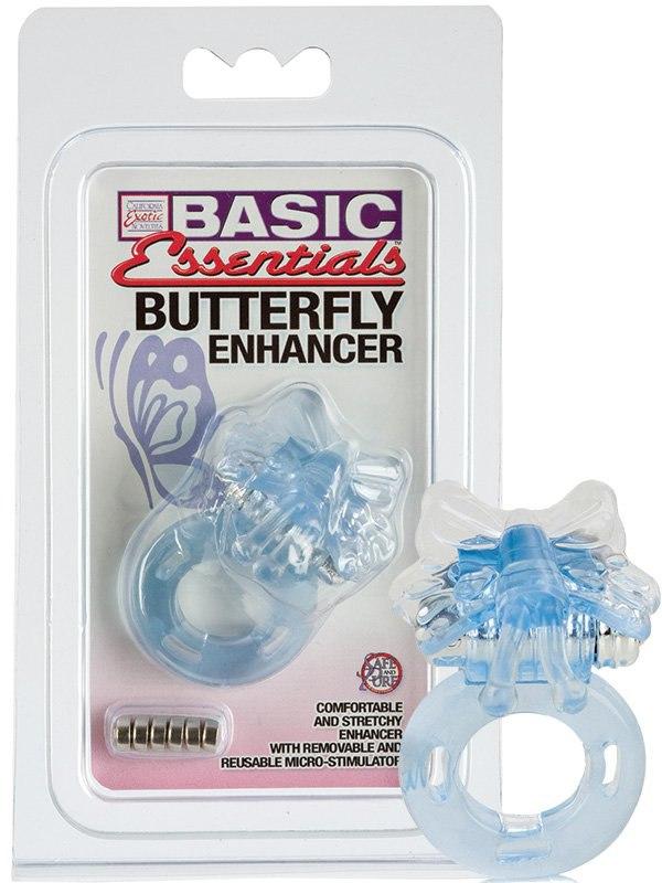 Эрекционное кольцо Basic Essentials Butterfly Enhancer со стимулятором бабочкой – голубой