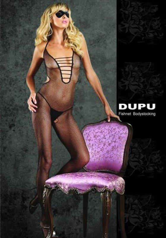 Комбинезон-сетка с глубоким декольте Dupu – черный