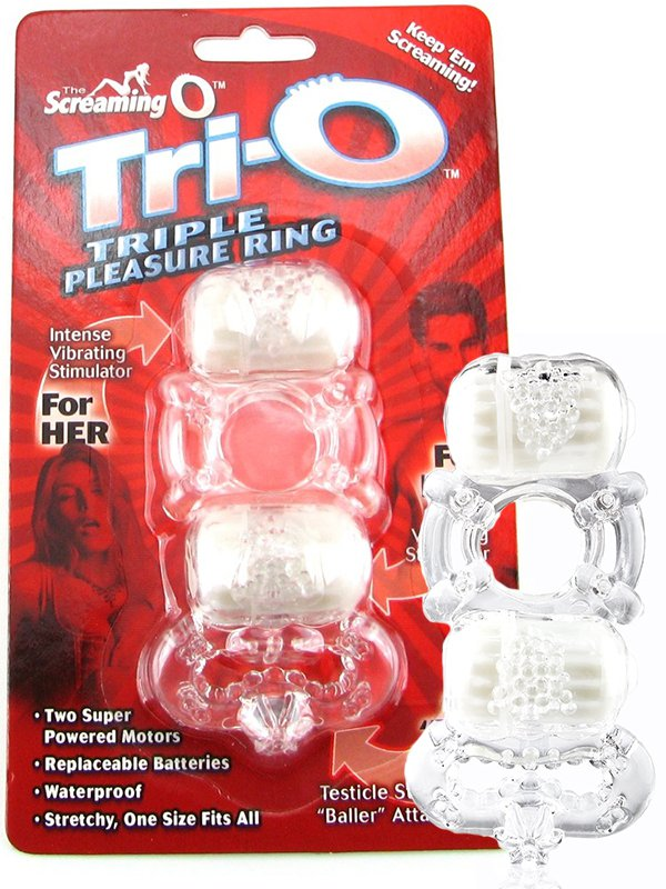Кольцо на пенис Trio О с двумя стимуляторами и петлей на мошонку – прозрачный