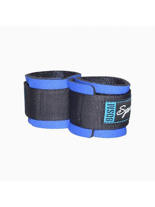 Неопреновые наручники Sitabella с застежками на липучке - синий
