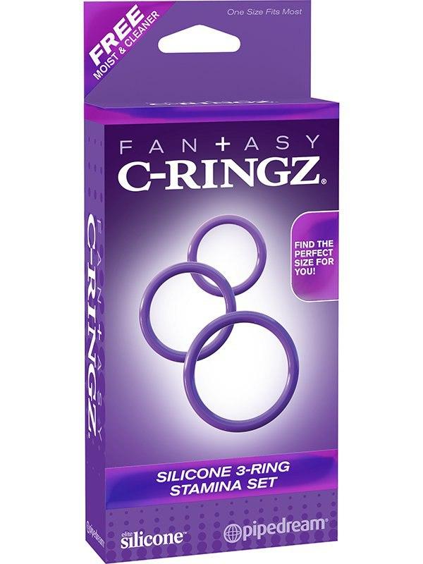 Набор из 3-х эрекционных колец 3-Ring Stamina Set – фиолетовый