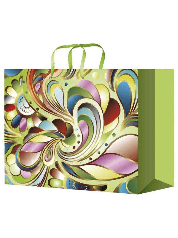 Ламинированный подарочный пакет с абстрактным цветочным рисунком (327*264*136)