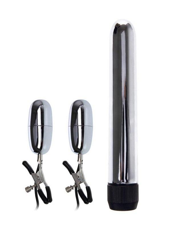 Набор Turbo NippleClamps из вибромассажера и зажимов для сосков с вибрацией  серебристый с черным