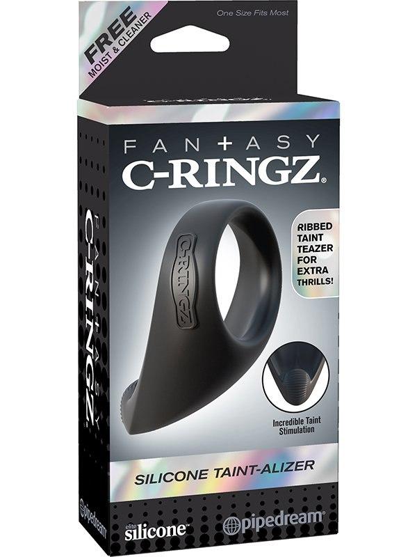 Эрекционное кольцо Silicone Taint-Alizer со стимулятором промежности – черный (Pipedream, США)
