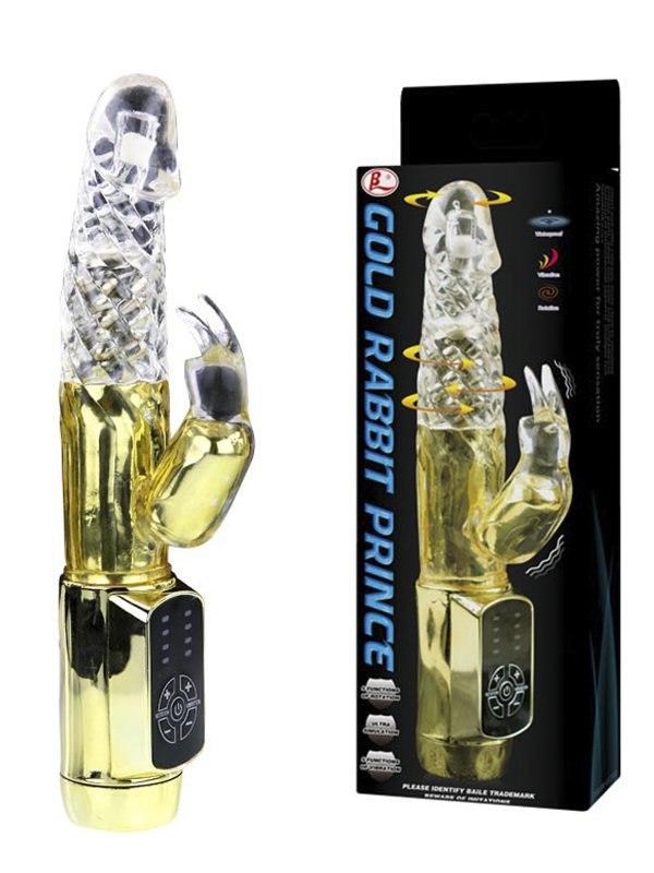 Изысканный ротатор Gold Rabbit Prince с вибростимуляцией клитора – золотой