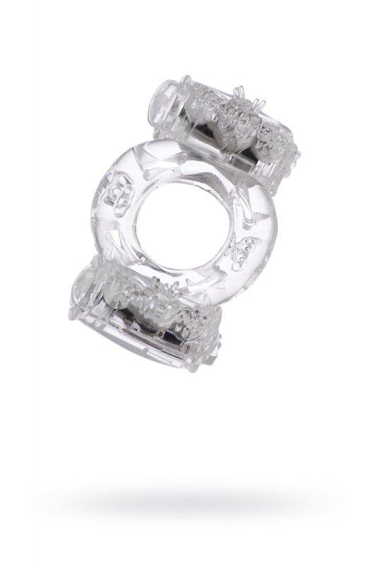Эрекционное кольцо TOYFA с двойной вибрацией - прозрачный