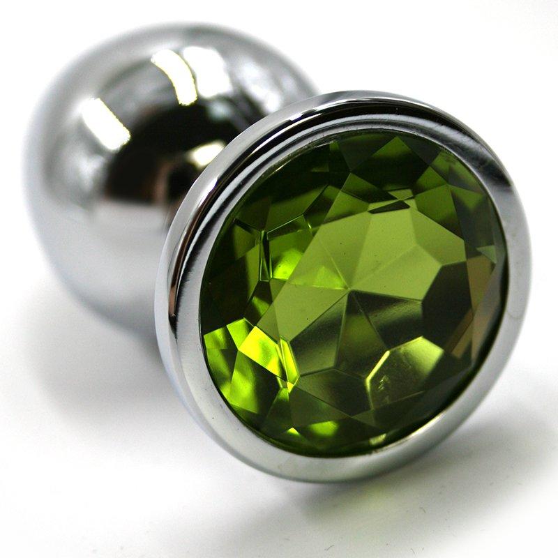 Маленькая алюминиевая анальная пробка Kanikule Small с кристаллом – серебристый с зеленым