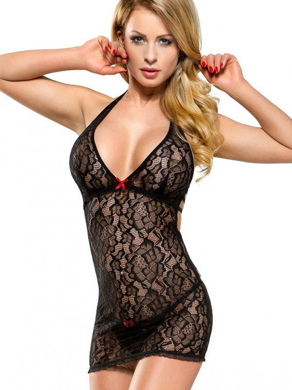 Кружевное платье и трусики Demoniq Azure черного цвета – S
