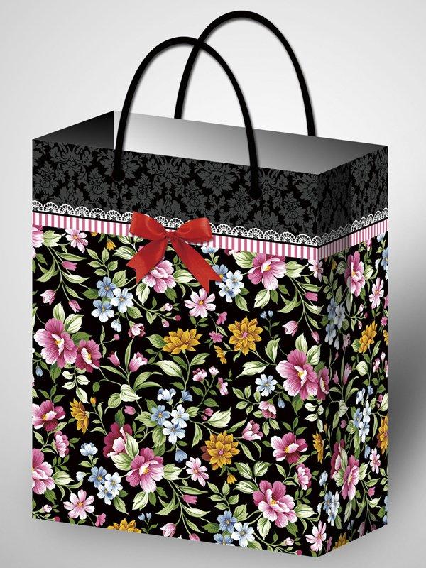 Подарочный пакет ламинированный с цветочным узором (264*327*136)
