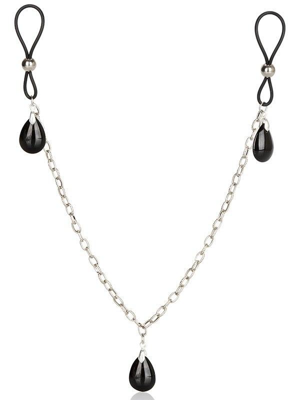 Зажимы на соски Chain Jewelry - Onyx на цепочке с подвесками –  черный