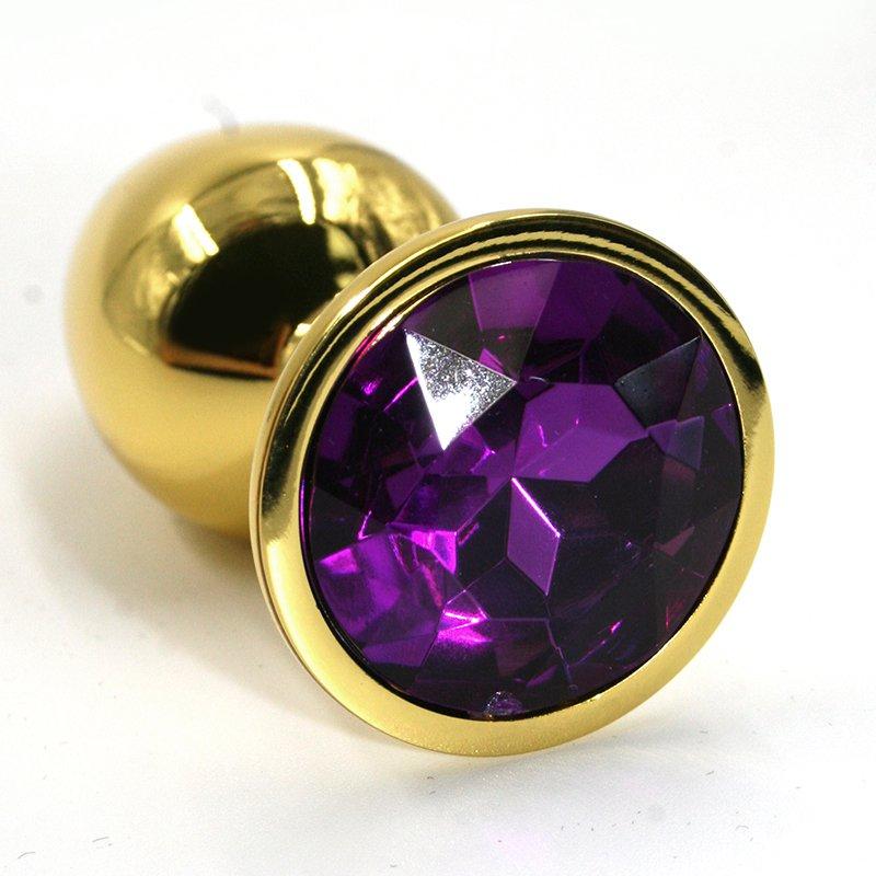Маленькая алюминиевая анальная пробка Kanikule Small с кристаллом – золотистый с фиолетовым