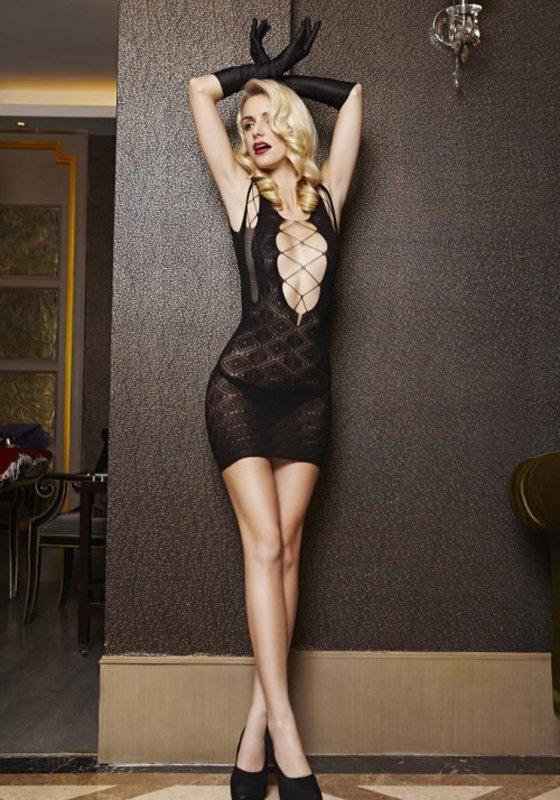 Кружевное платье Комильфо с глубокими вырезами (Temptlife) – черный