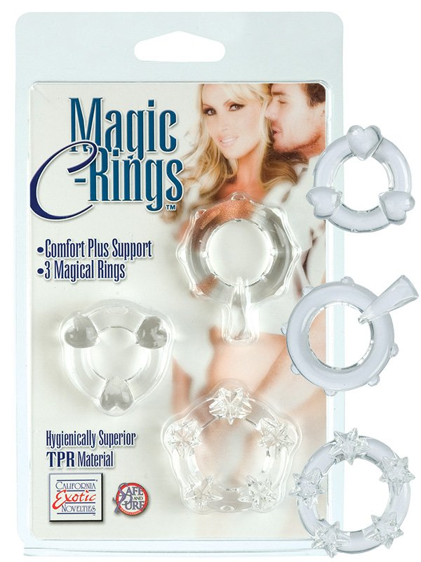 Набор из 3-х эрекционных текстурированных колец Magic C-Rings – прозрачный