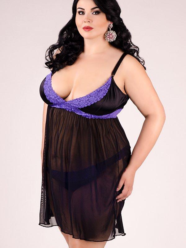 Воздушная черно-фиолетовая сорочка Andalea с трусиками – XXL