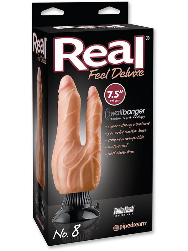 Вибромассажер двухголовый Real Feel Deluxe №8  7,5 телесный (Pipedream, США)