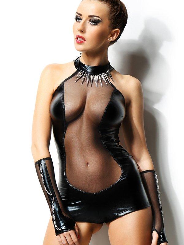 Глянцевый черный комплект из сексуального боди и перчаток Demoniq Isabelle – L/XL