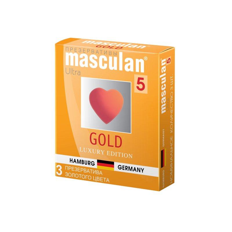 Презервативы Masculan 5 Ultra Золотые, утонченный латекс золотого цвета с ароматом ванили 3 шт