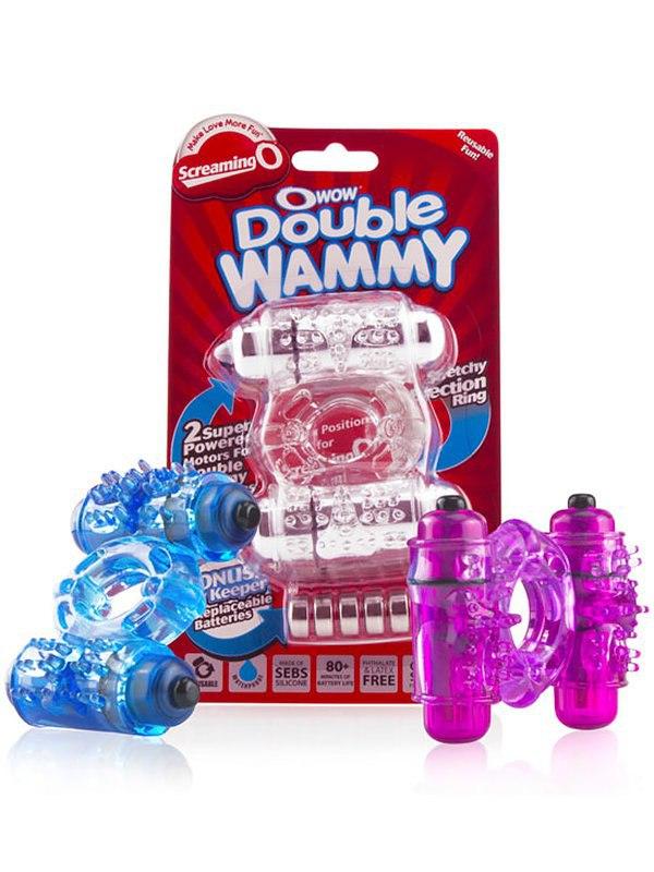 Эрекционное кольцо O Wow Double Wammy с двумя вибростимуляторами