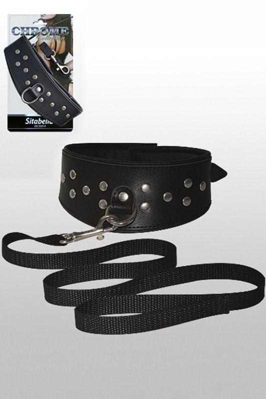Кожаный ошейник с поводком Sitabella Chrome Collection – черный с серебристым