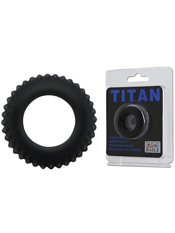 Ребристое эрекционное кольцо Titan – черный