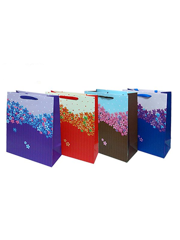 Подарочный пакет Люкс с атласными ручками 32 х 26 х 12 см - в ассортименте
