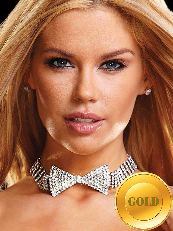 Ожерелье-бабочка Ann Devine - All Rhinestone Bow Tie Choker из кристаллов – золотой