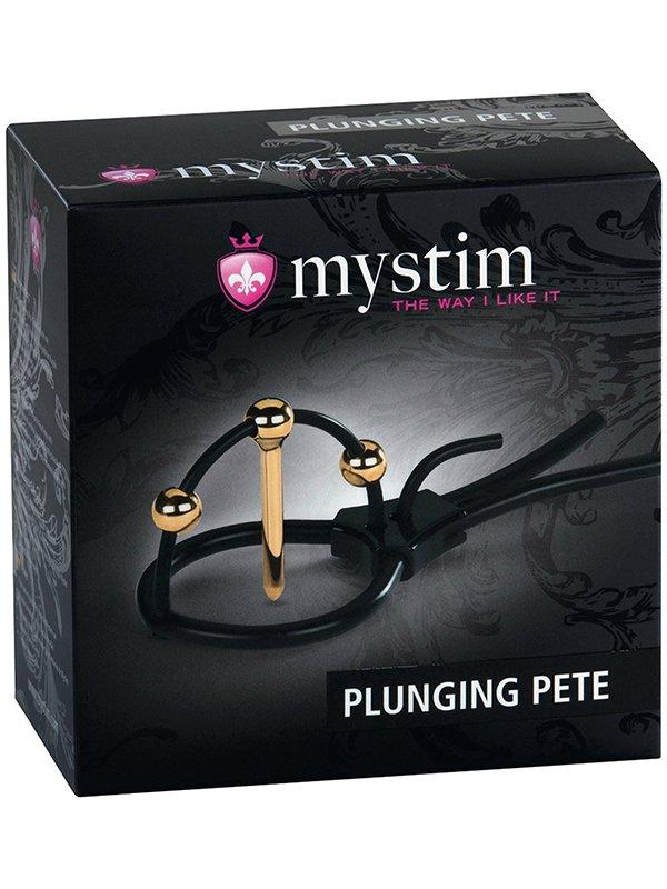 Электросбруя для головки пениса Plunging Pete с зондом-электродом для уретры – черный