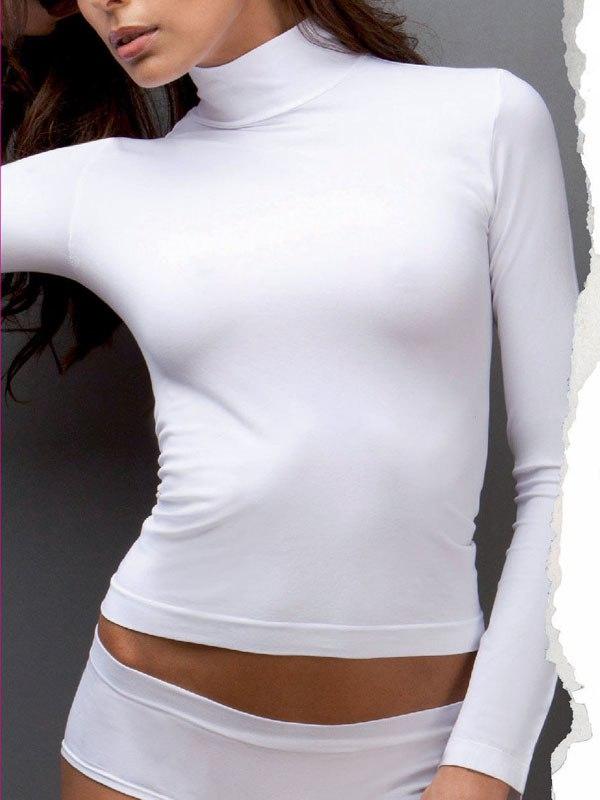 Белая водолазка с воротником стойкой Lupetto Manica Lunga Basic - M/L