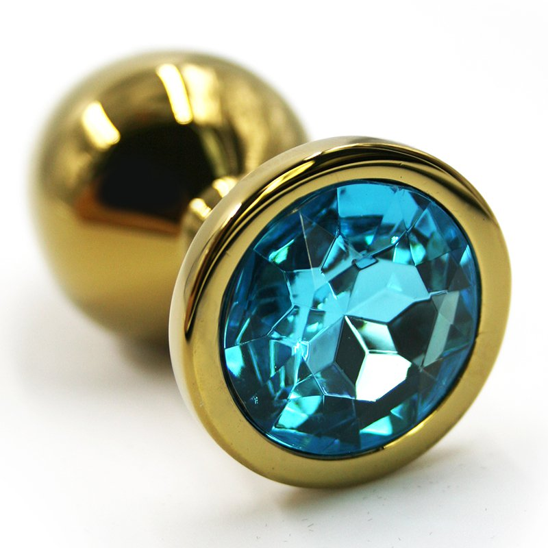 Маленькая алюминиевая анальная пробка Kanikule Small с кристаллом – золотистый с голубым