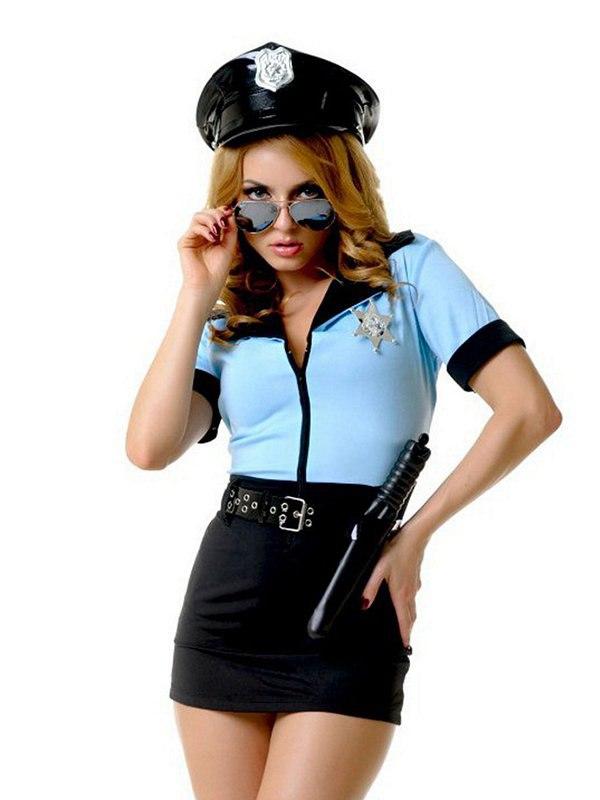 Эротический игровой костюм Le Frivole Грязный Коп – черный с голубым, M/L
