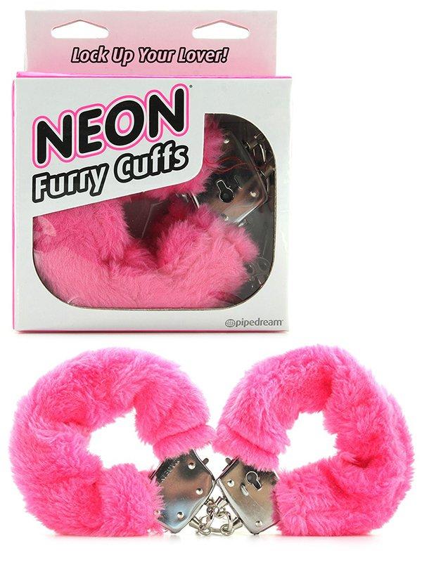 Меховые наручники Neon Furry Cuffs – розовый