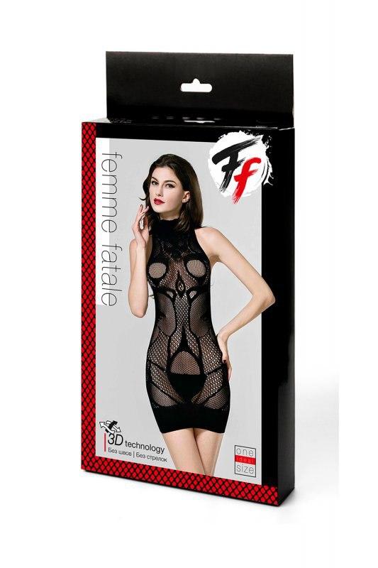 Закрытое эротическое бесшовное платье-сетка Femme Fatale