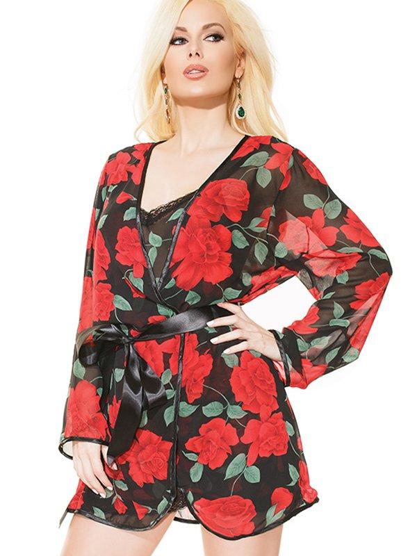Коротенький халатик Coquette с красным розами