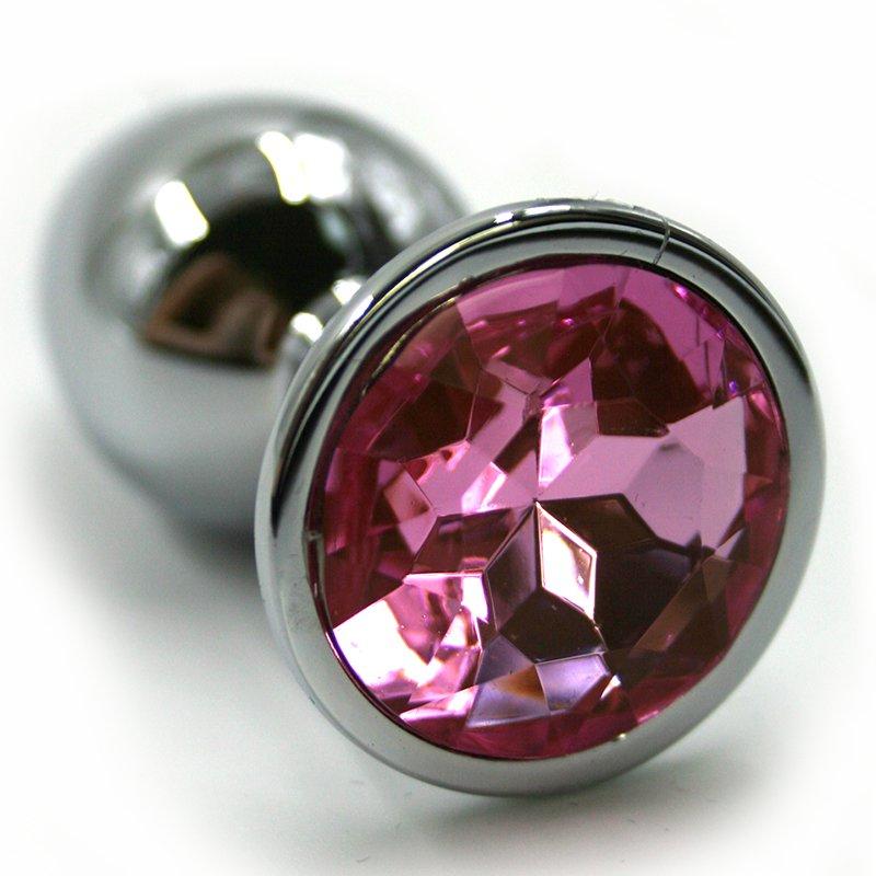 Средняя алюминиевая анальная пробка Kanikule Medium с кристаллом – серебристый со светло-розовым