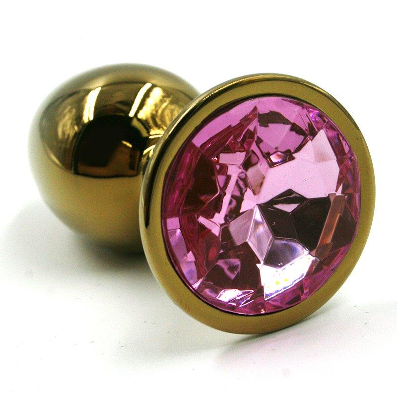 Большая алюминиевая анальная пробка Kanikule Large с кристаллом – золотистый со светло-розовым