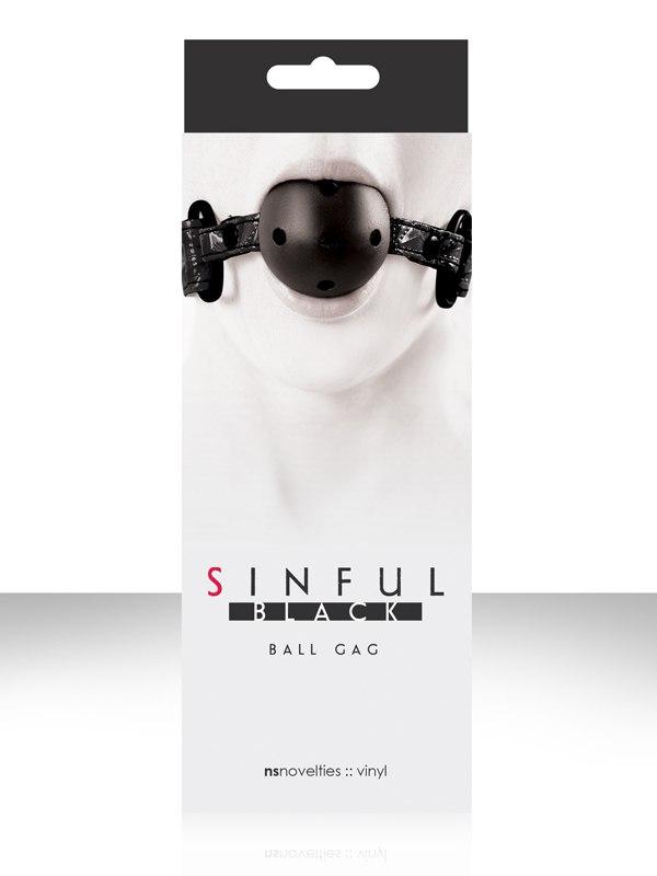 Кляп с виниловым ремешком Sinful Ball Gag – черный от Он и Она