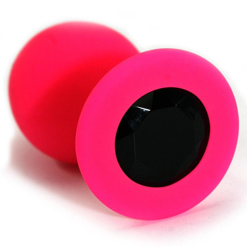 Средняя силиконовая анальная пробка Kanikule Medium с кристаллом – розовый с черным