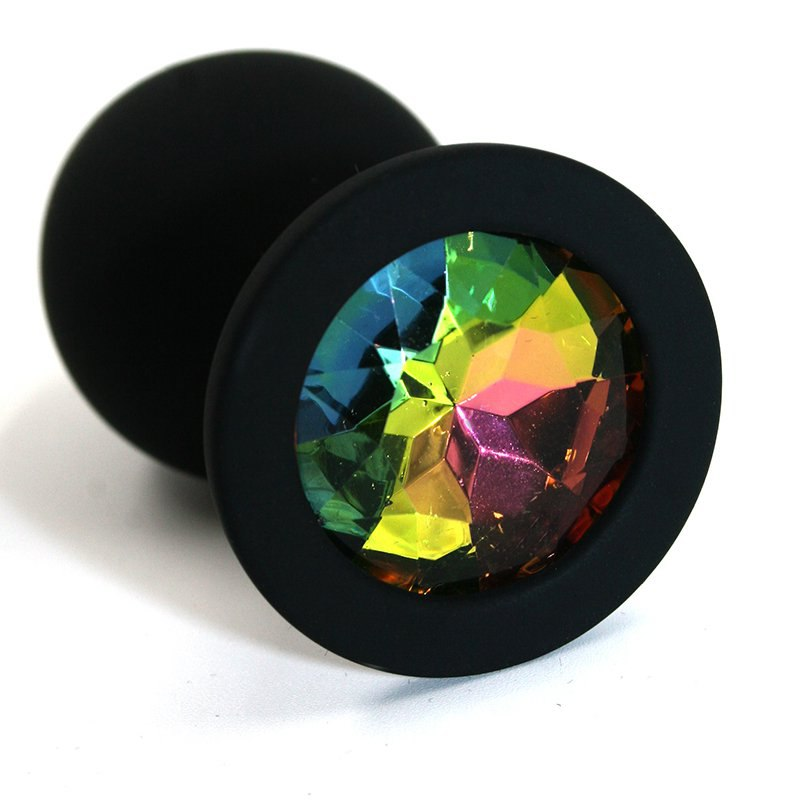 Средняя силиконовая анальная пробка Kanikule Medium с кристаллом – черный с разноцветным