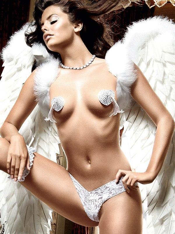 Белые стринги из филигранного кружева Back in Heaven