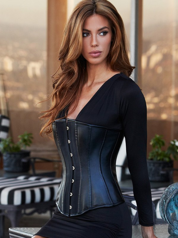 Корсет Essential Satin & Leather Corset – черный, S