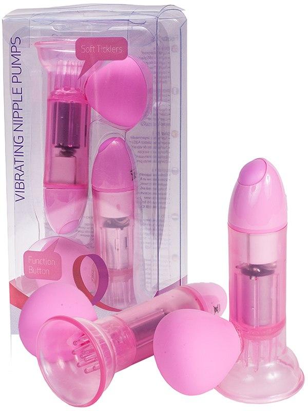 Вакуумные помпы для сосков Premium Range с вибрацией – розовая